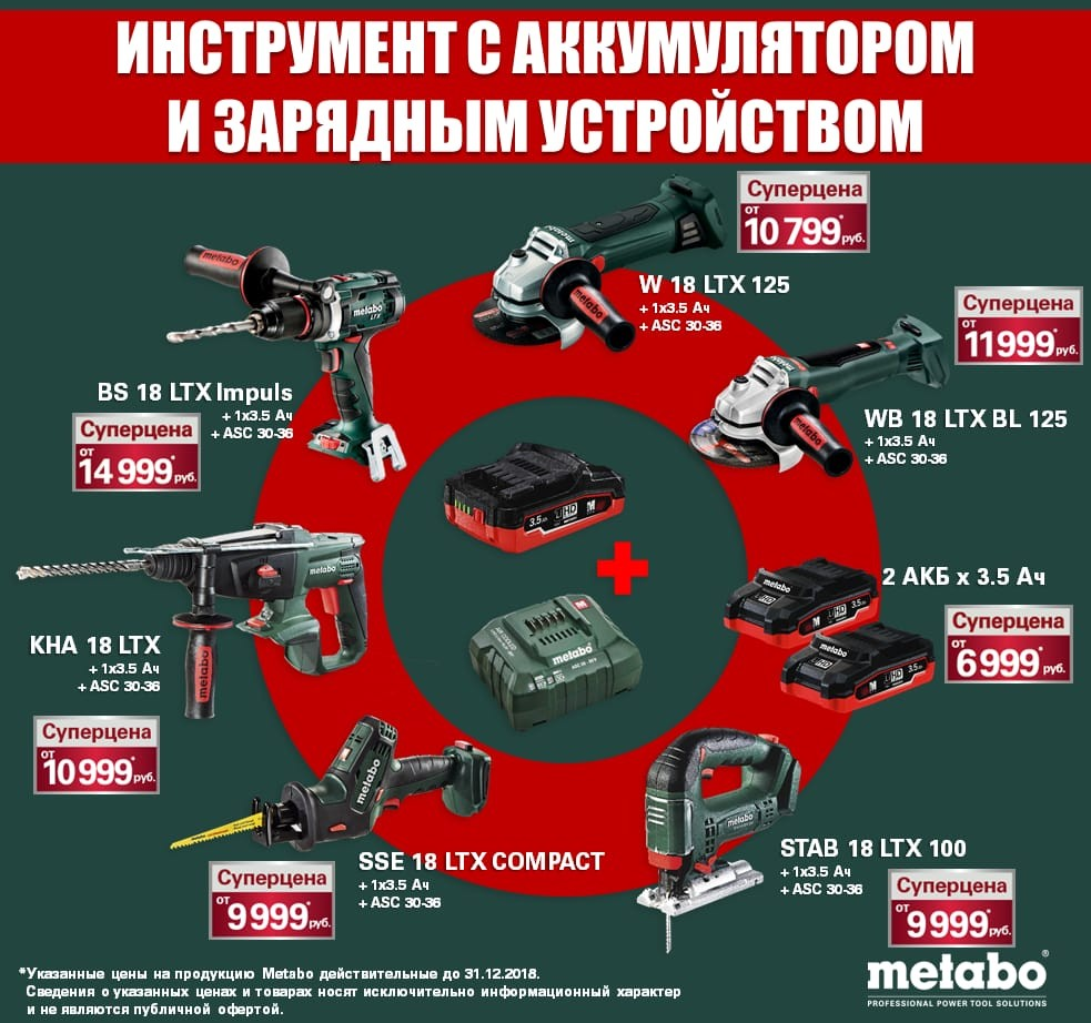 Аккумуляторный инструмент Metabo