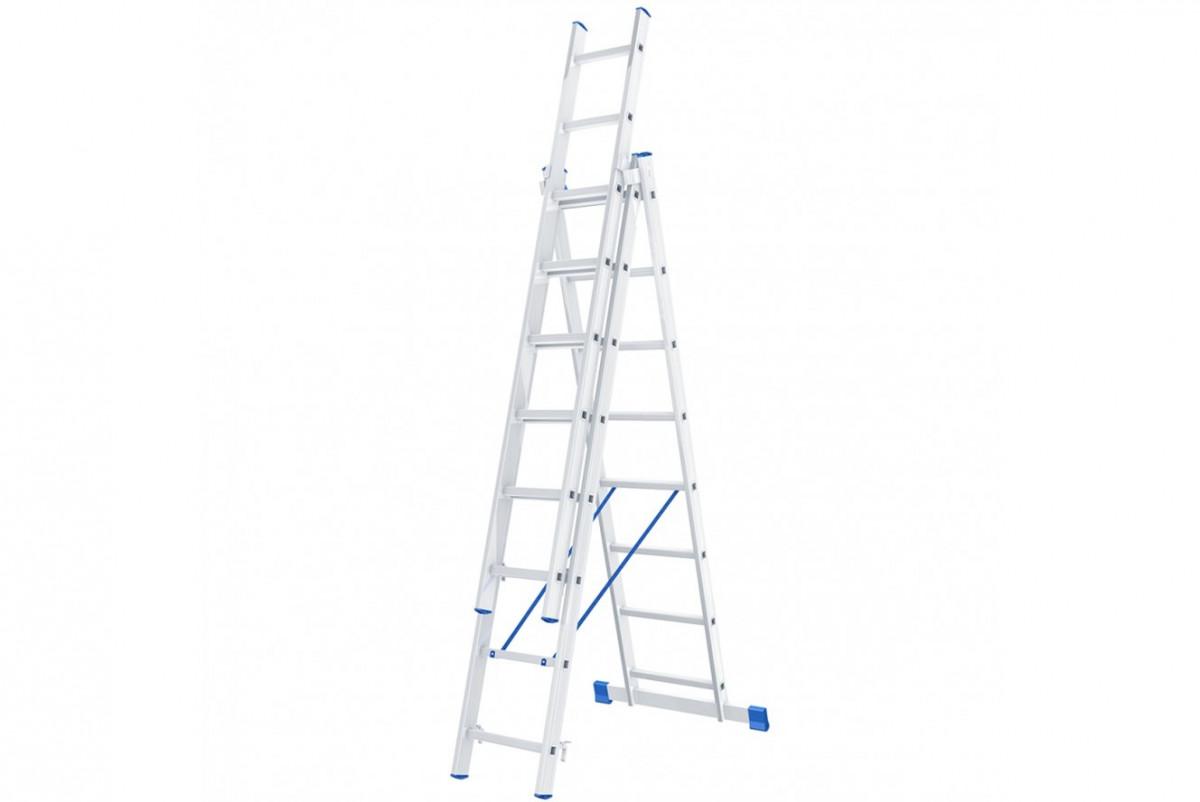 Лестница, 3* 8 алюминиевая, трехсекционная Сибртех 97818