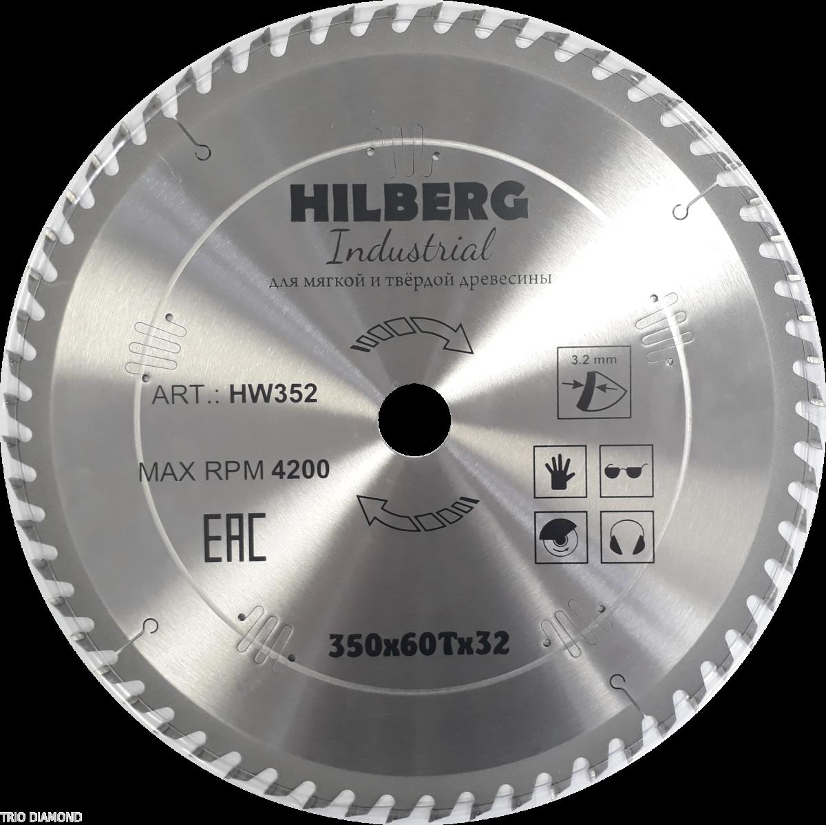 Диск пильный Trio Diamond 350*32*60Т Hilberg Industrial Дерево