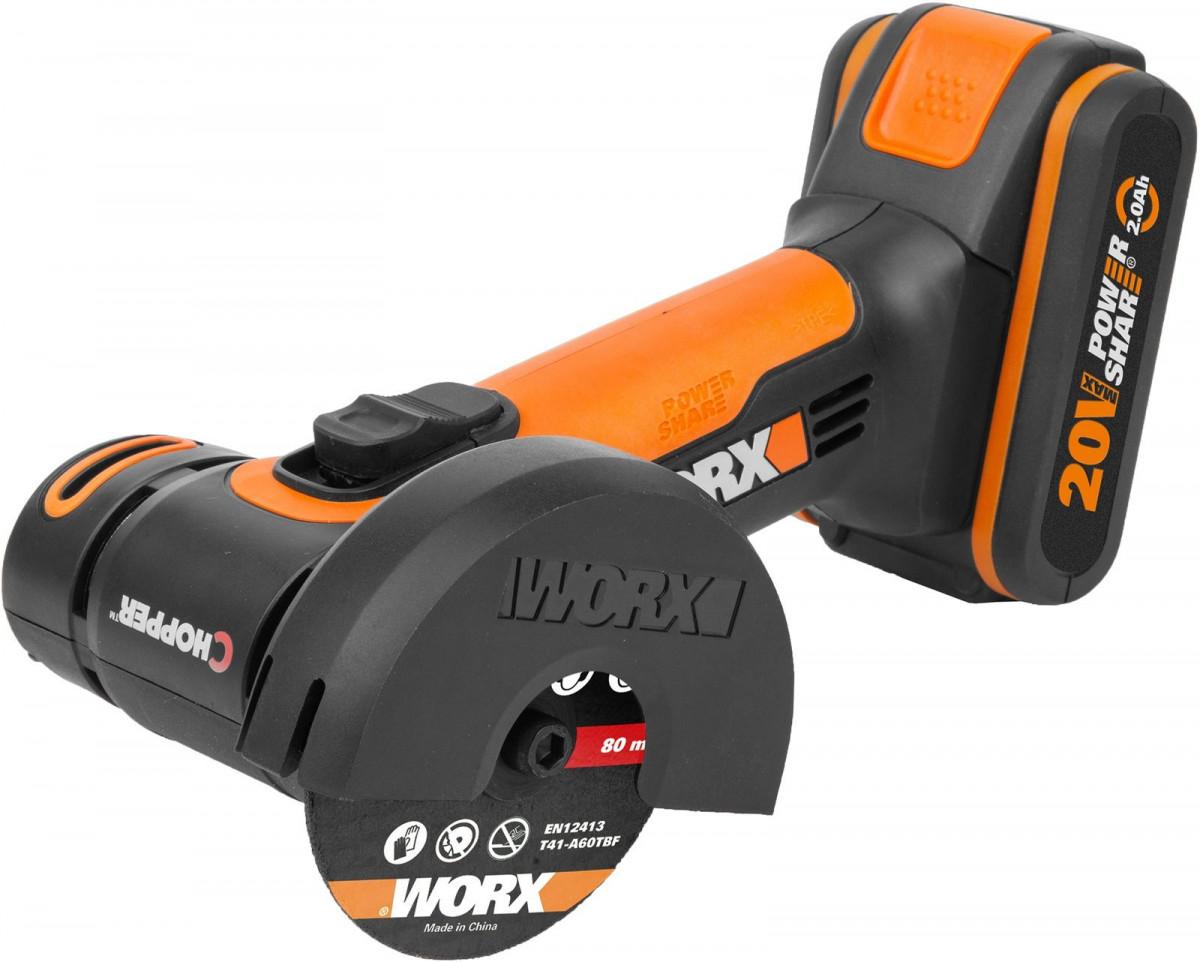УШМ аккум. WORX WX801 (20В, 76 мм, 1*2,0Ач, кейс)