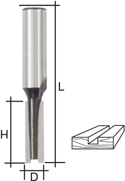 Фреза пазовая прямая с двойным лезвием, DxHxL = 12 х 20 х 58 мм