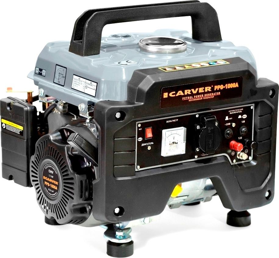 Генератор бенз.  CARVER PPG- 1000А (LT-156F, 1,0/1,1кВт, 220В, бак 6л)