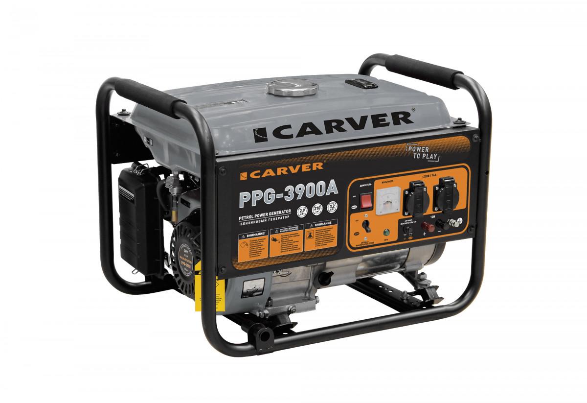 Генератор бенз.  CARVER PPG- 3900А (LT-170F, 2,9/3,2кВт, 220В, бак 15л)
