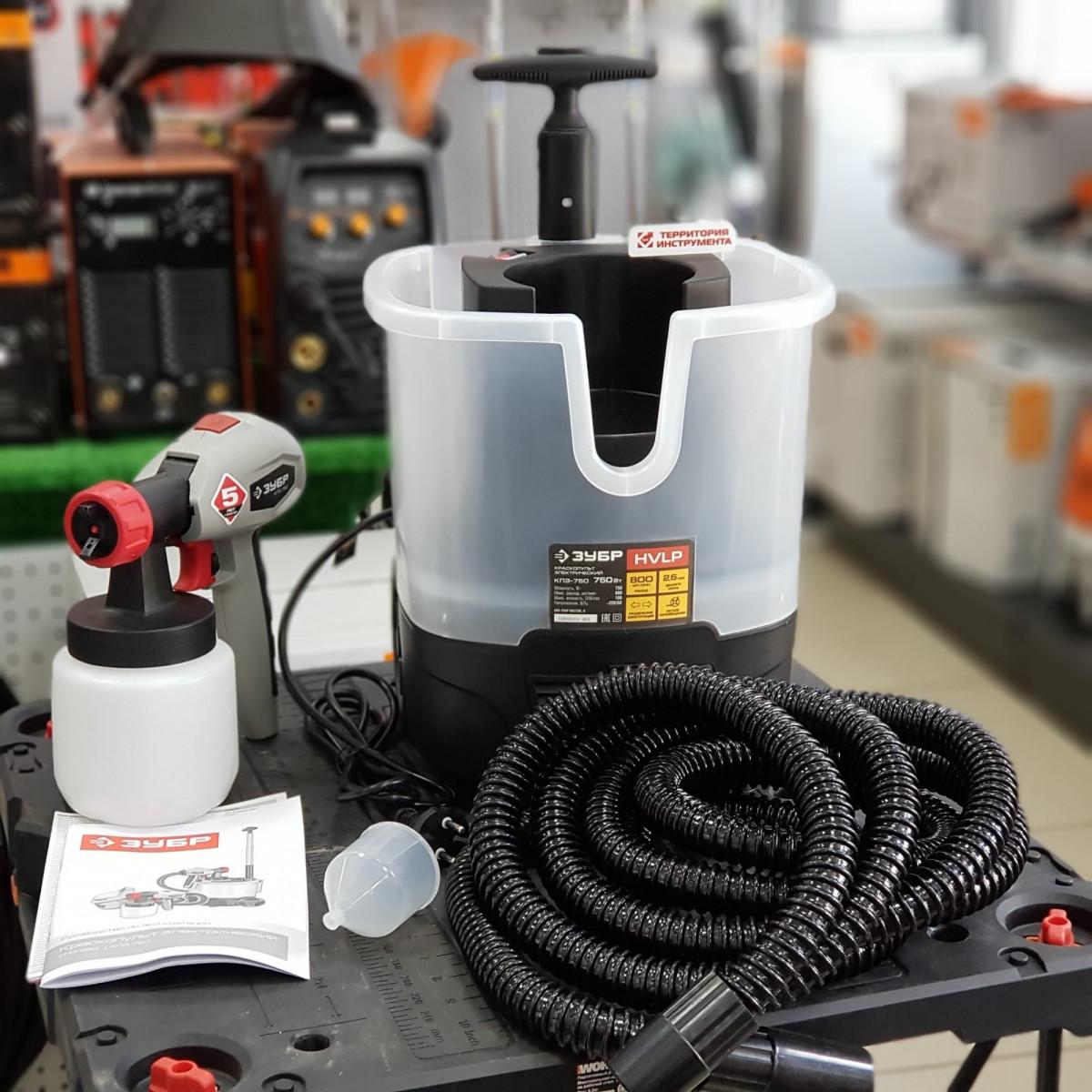 Краскопульт электрический воздушный , ЗУБР КПЭ-750, 0,8л, 0-800мл/мин 100DIN, 2,6мм сопло