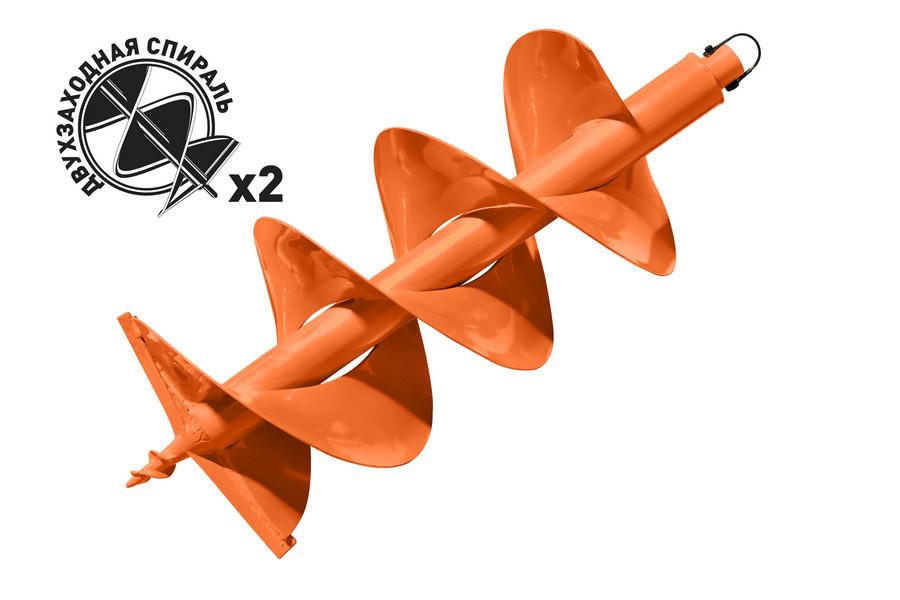 Шнек для грунта d пос=20мм, D=300мм GDB-300/2 двухзаходный