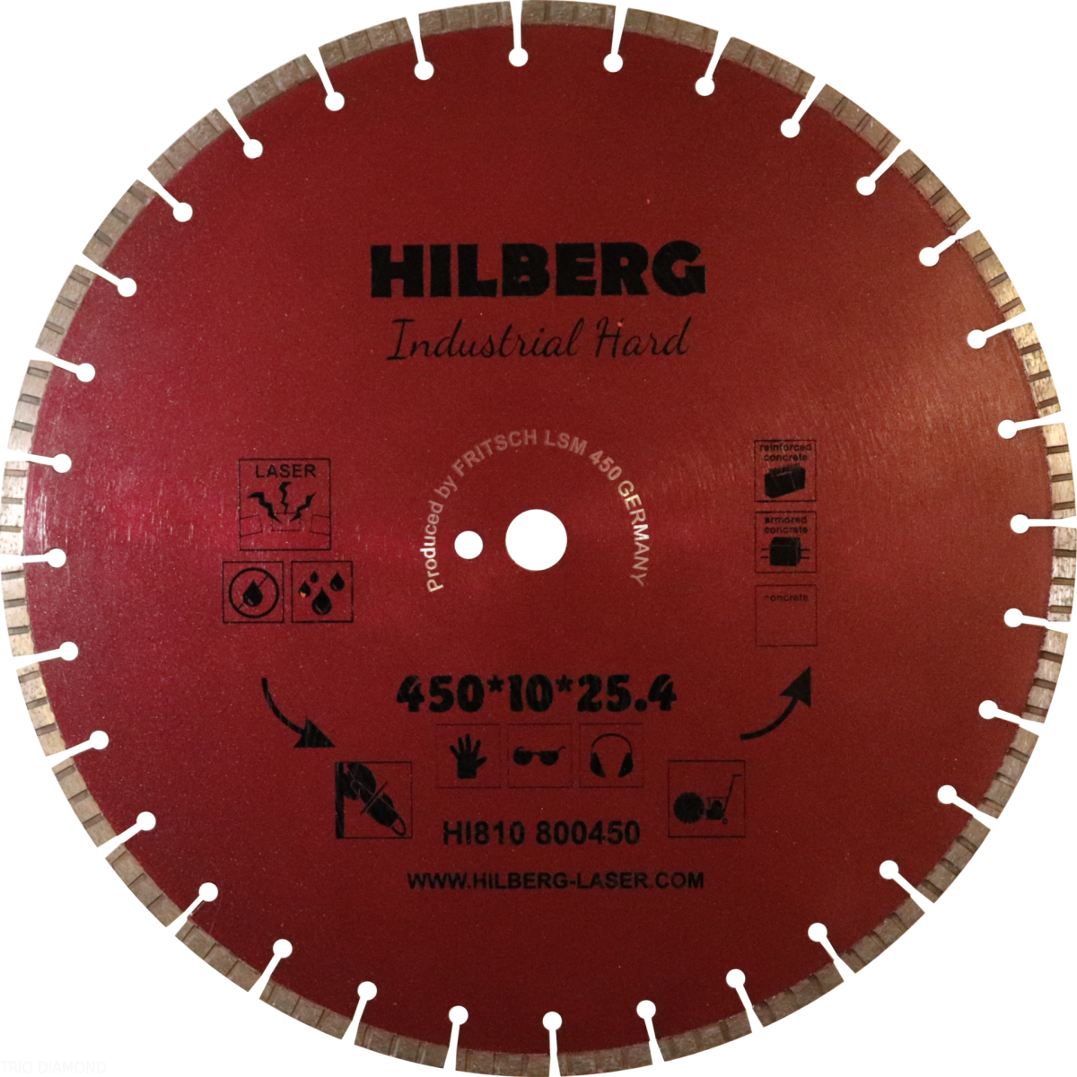 Диск алмазный Trio Diamond 450*25,4 Hilberg Industrial Hard армированный бетон, железобетон