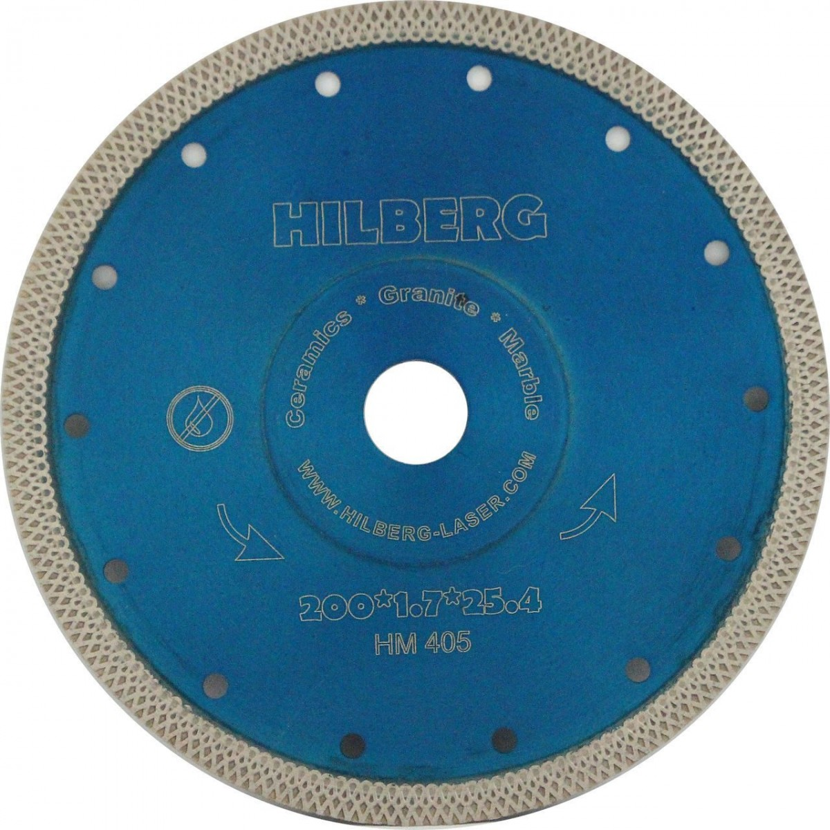 Диск алмазный Trio Diamond 200*25,4/22,22,3 Hilberg Турбо ультратонкий х-тип