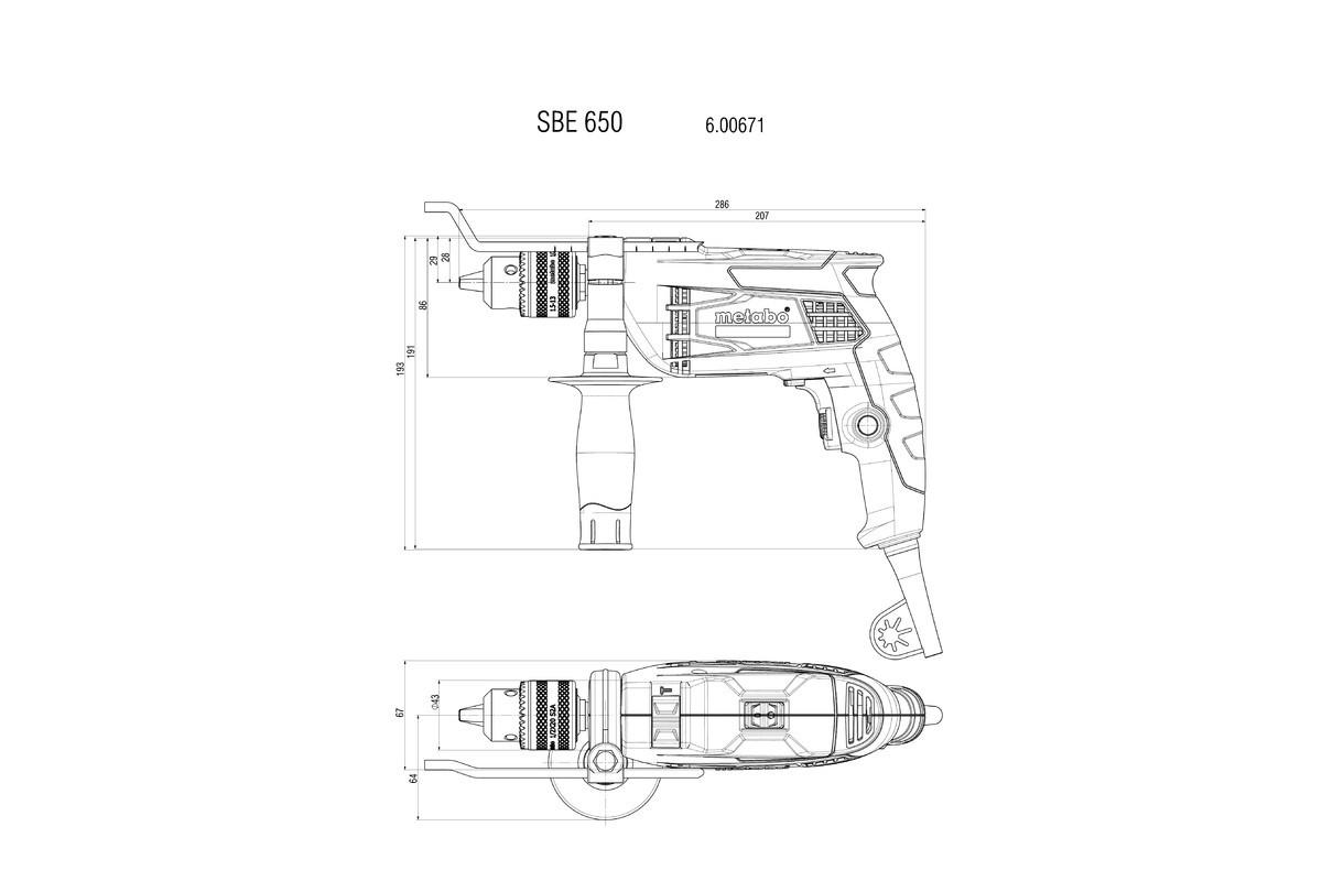 Дрель ударная Metabo SBE 650 (650Вт, БЗП)