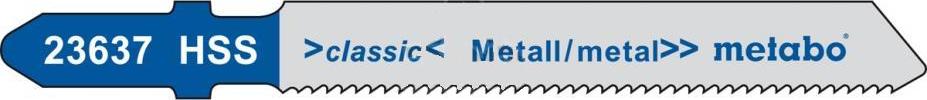 Пилки для лобзика Metabo металл 66 мм HSS T118G (5 шт)