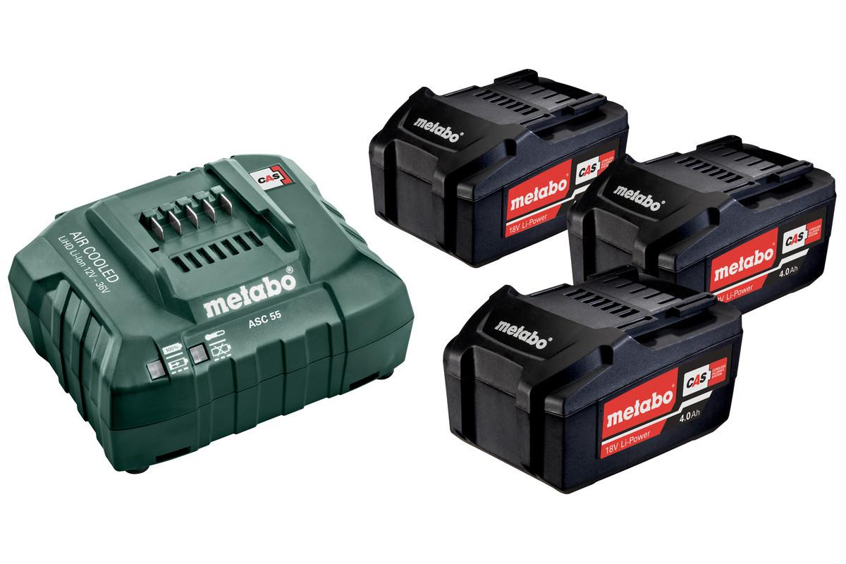 Аккумулятор Metabo Li-Power18В 4Ач  (3 ШТ.) И ЗУ BASIC-SET 4.0