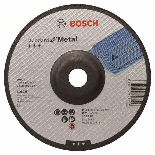 Круг шлифовальный  180х22х6 Bosch Standart вогн. (металл)